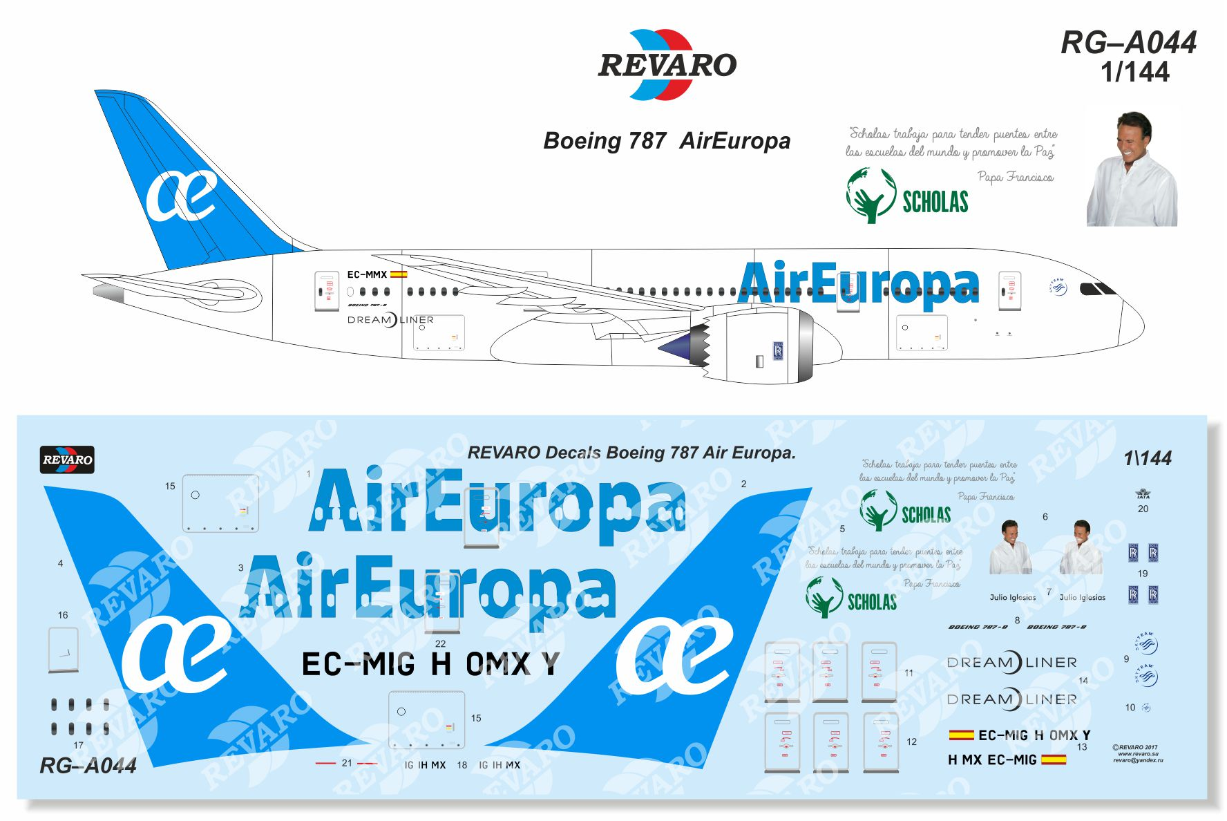 декаль, Boeing 787, AirEurope, revaro, decal
